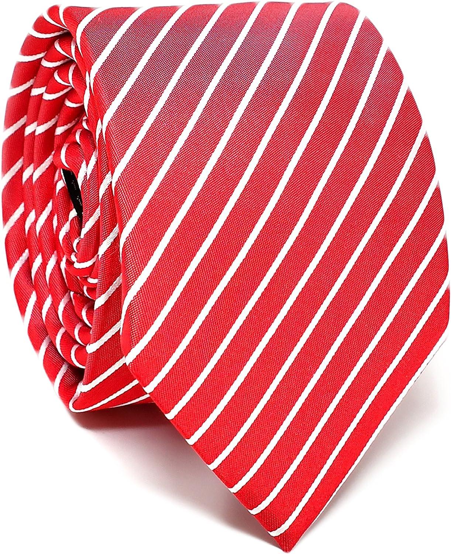 Oxford Collection Corbata de hombre Rojo a Rayas - 100% Seda ...