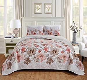 Home Collection 3pc Full/Queen Over Size Bedspread with Beautiful Coral and Brown Flowers Print New