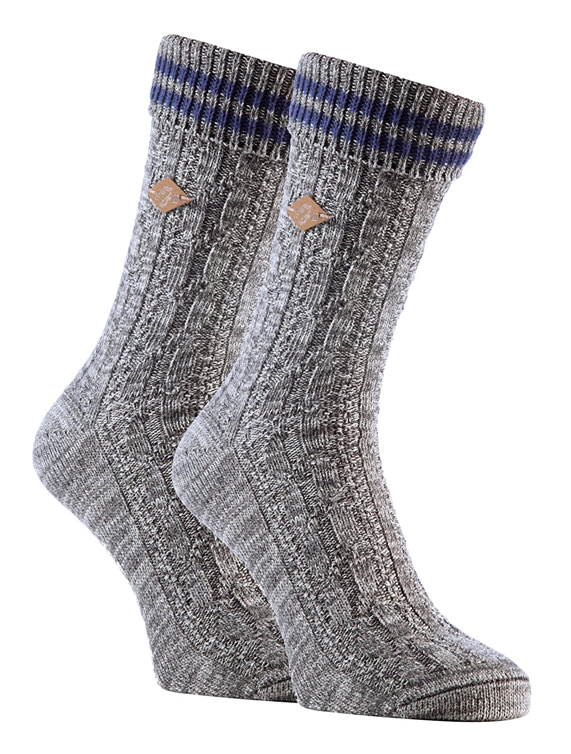 Farah - 2 Pack Mens Thick Chunky Ribbed Cable Knit Cotton Crew Socks for Boots 06 Deep Red / Slate) FNS006