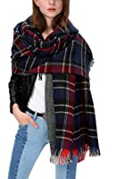 Women's Scarf Plaid Striped Scarves Shawls Blanket Poncho with Fringe Trims (Series 2 navy)