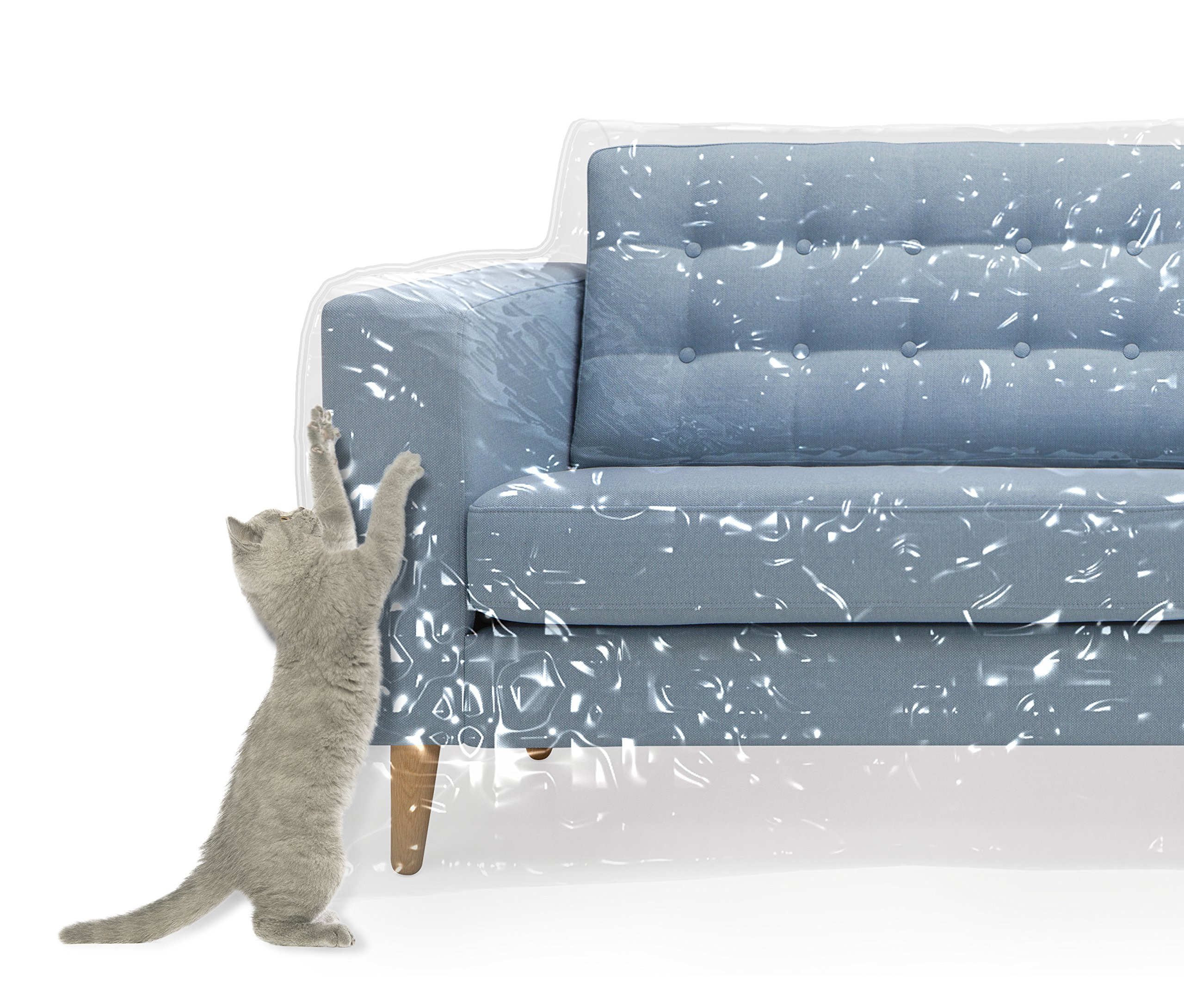 Plastic Couch Cover For Pets | Cat Scratching Protector Clawing Deterrent | Heavy Duty Water Resistant Thick Clear Vinyl | Sofa Slipover For Moving And Long Term Storage by Kitty Cat Protector