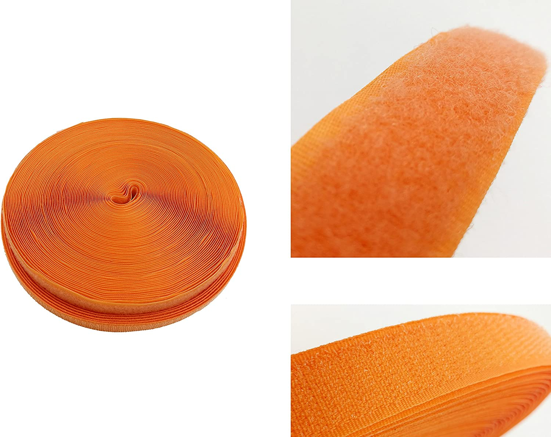 Cinta de Gancho y Bucle 20 mm de Ancho 25m Gancho y 25m Bucle Cinta no Autoadhesivas TUKA 25m x 20mm Hook y Loop Bandas para Coser de Vuelta sin Adhesivo Naranja TKB5004 Orange