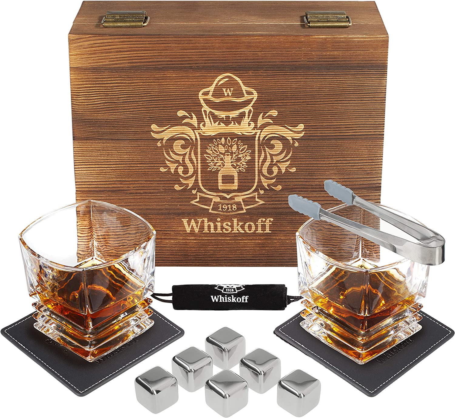 Whiskey Glasses Set - 6 Stainless Steel Reusable Ice Cubes - Whisky Gifts for Men - Scotch Bourbon Glasses Set - Whisky Chilling Metal Cubes in Wooden Box - Bourbon Gifts for Men - Gift for Him