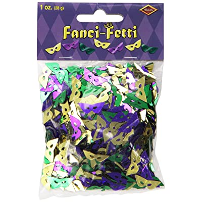 Fanci-Fetti Mardi Gras Masks (asstd gold, green, purple) Party Accessory (1 count) (1 Oz/Pkg): Kitchen & Dining