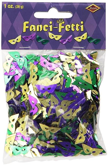 Fanci Fetti Mardi Gras Masks (Asstd Gold, Green, Purple) Party Accessory  (1 Count) (1 Oz/Pkg) by Beistle