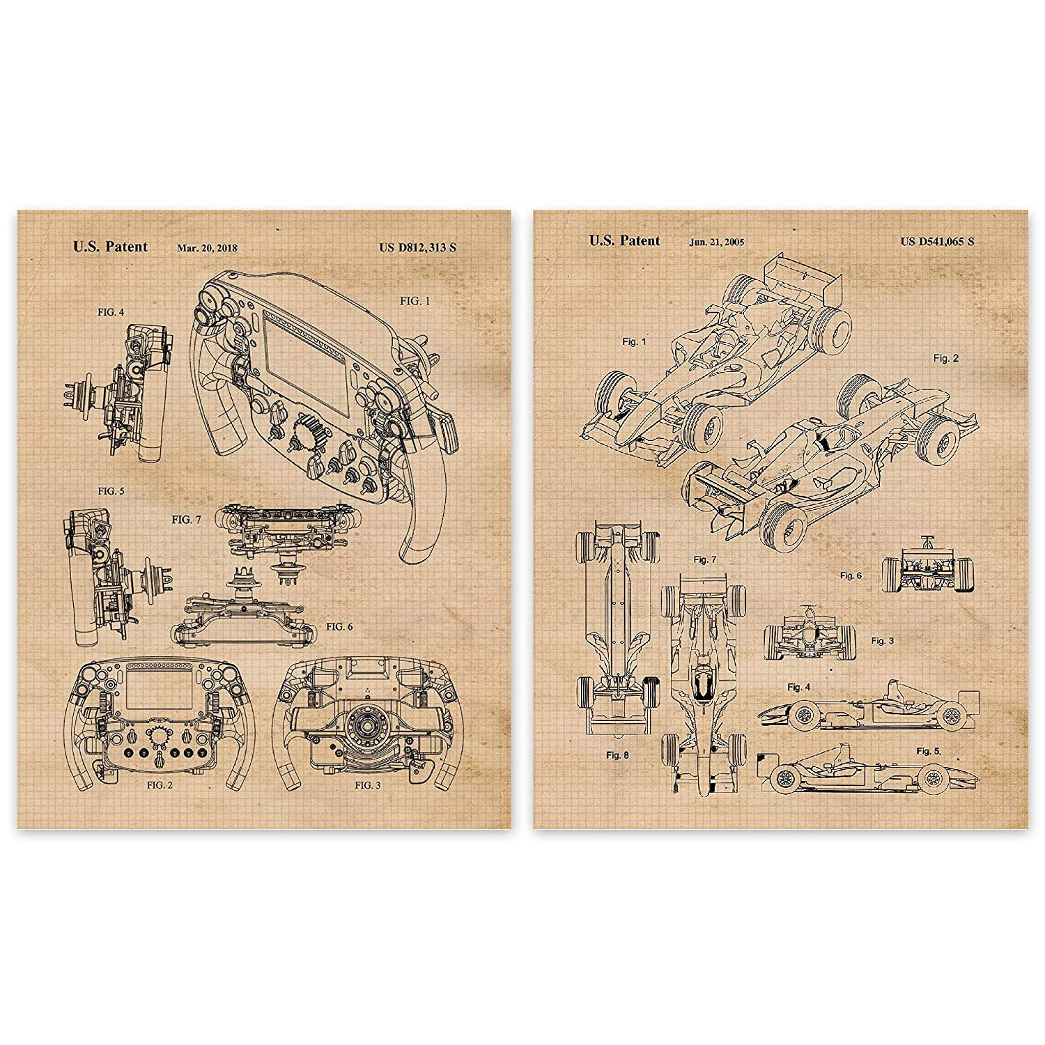 Amazon Com Vintage Ferrari F1 Racing Patent Poster Prints Set Of 2 8x10 Unframed Photos Great Wall Art Decor Gifts Under 15 For Home Office Garage Man Cave College Student Teacher Formula 1