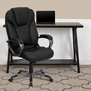 Flash Furniture High Back Black LeatherSoft Executive Swivel Office Chair with Titanium Nylon Base and Arms