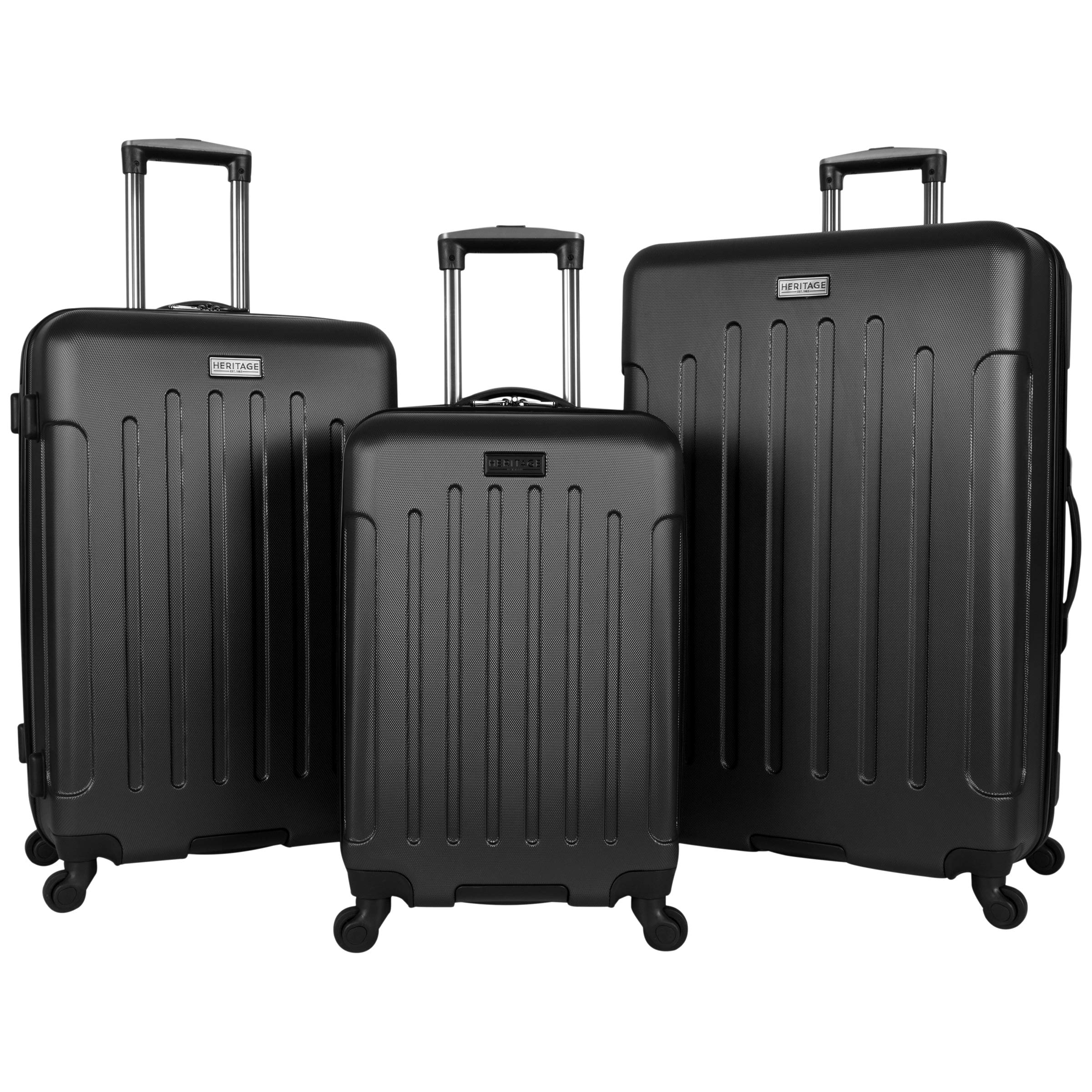 Heritage Travelware Lincoln Park Hardside 4-Wheel Spinner 3-Piece Luggage Set; 20'' Carry-on, 24'', 28'', Black by Heritage Travelware