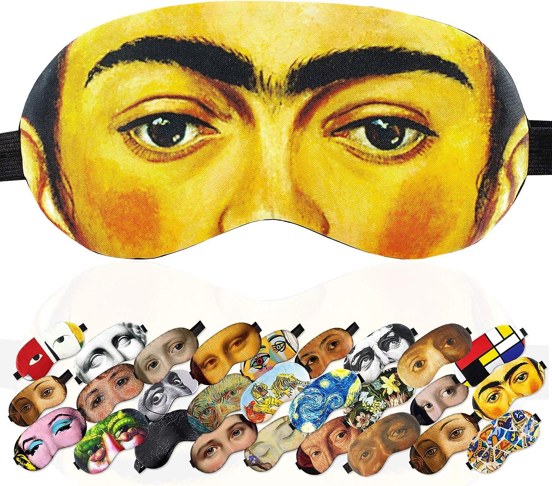 Sleep Mask Masterpieces for Women Children Kids - 100% Soft Cotton - Comfortable Eye Sleeping Mask Night Cover Blindfoldfor Travel Airplane (Frida Kahlo, Gift Pack)