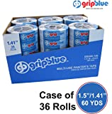 """GripBlue 1.5 Inch (1.41""""/36mm) X 60 YDs Multi-Use Blue Painters Tape 