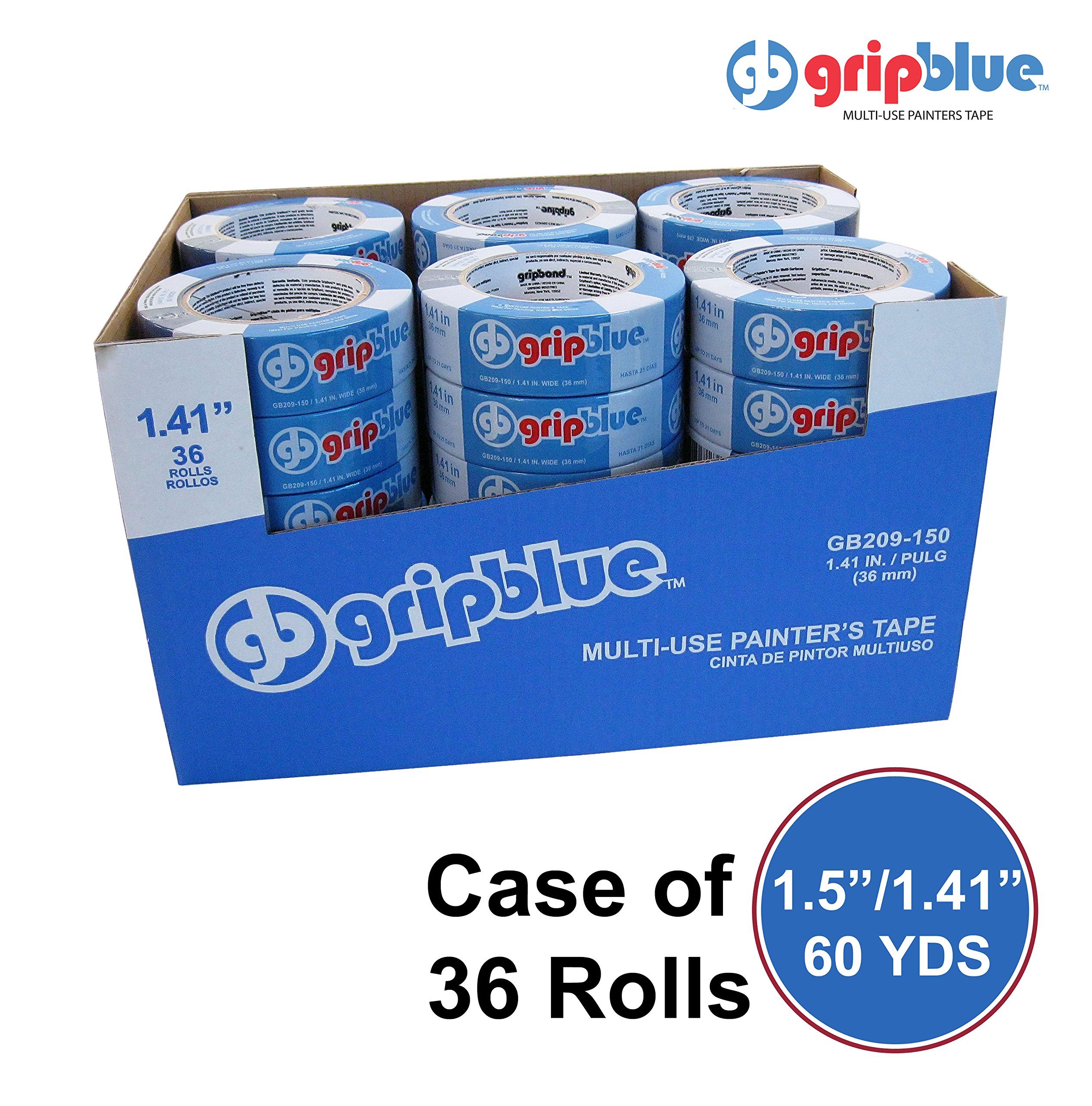 GripBlue 1.5 Inch (1.41''/36mm) X 60 YDs Multi-Use Blue Painters Tape | Premium Crepe Paper Masking Tape for Multi-Surfaces| Clean and Easy Removal | Case of 36 Rolls