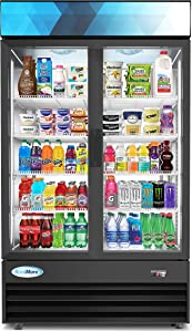 "KoolMore 45"" Commercial Glass 2 Door Display Refrigerator Merchandiser - Upright Beverage Cooler with LED Lighting - 35 Cu. Ft, Black"