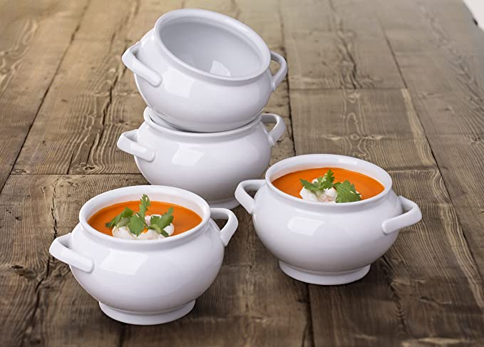 4 opinioni per Set di 4 ciotole per zuppa in porcellana bianca