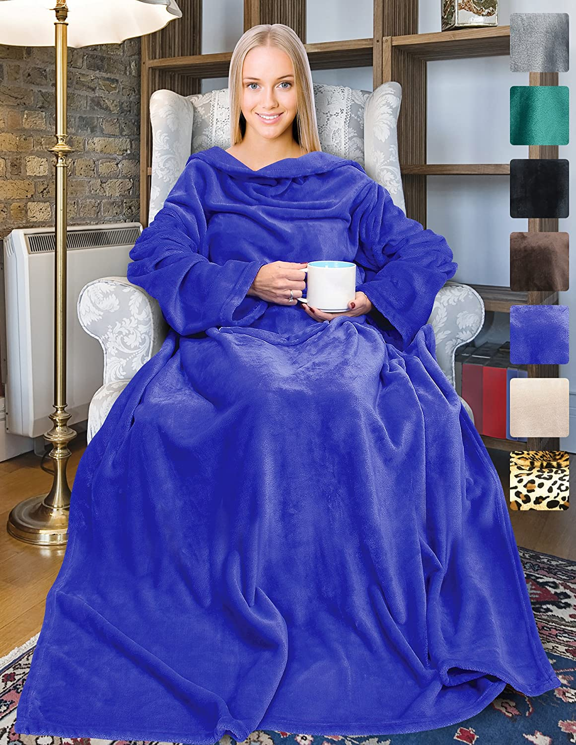 """Wearable Fleece Blanket with Sleeves for Adult Women Men, Super Soft Comfy Plush TV Blanket Throw Wrap Cover for Lounge Couch Reading Watching TV 73"""" x 51"""" Blue"""