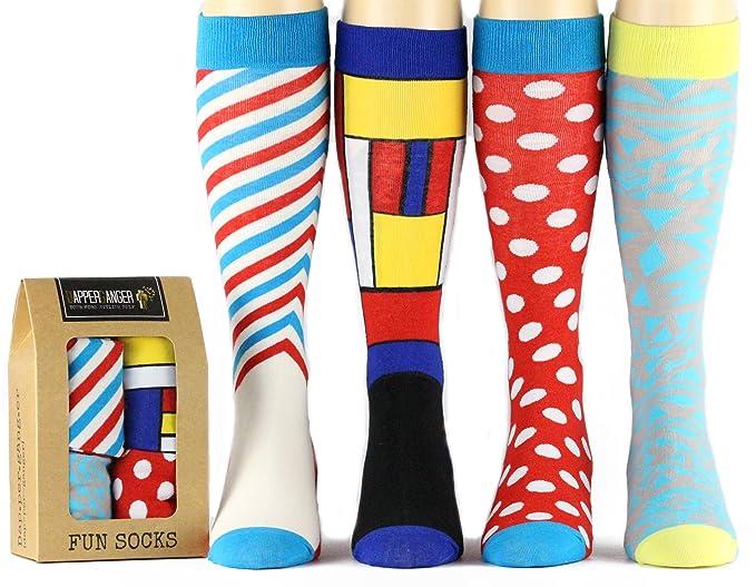 DapperGanger Para hombre colores calcetines para hombres Fun Happy Funky Crazy calcetines: Amazon.es: Ropa y accesorios