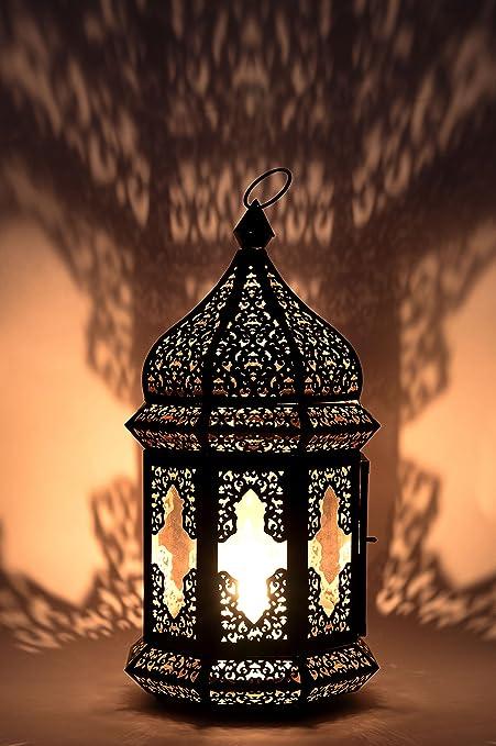 Petite Lanterne marocaine décorative Wifaq 40cm   Photophore marocain pour l'extérieur au jardin ou l'intérieur sur la table   Lanternes pour bougie  