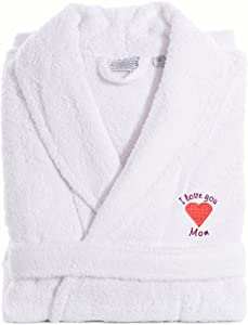 Linum Home Textiles TR00-LX-PINKHRT I Love You Mom Embroidered White Terry Bathrobe, Large/X-Large, Pink Heart