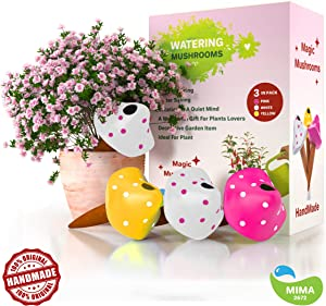 Mushroom Terracotta Watering Globes, 3 Self Watering System Spikes, Automatic Plant Waterer Irrigation Drippers, Plant Watering Wands Indoor Plants, Hanging Pots Outdoor (Mushrooms, Pink White Yellow)