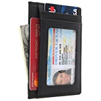 Linscra Leather RFID Blocking Minimalist Credit Card Holder Slim Pocket Wallets for Men & Women