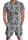 uideazone Men Summer Shorts 3D Printed Bro Romper Jumpsuit One Piece Romper Outfits - Multi - Small