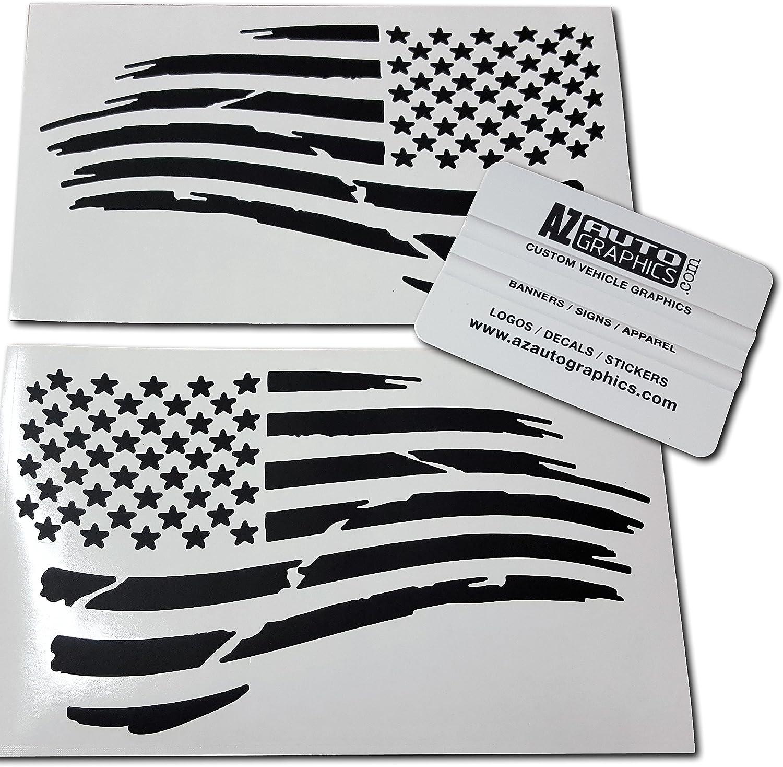 "American Flag Waving stickers-Pair of die-cut decal 3/"" military USA US VINYL"