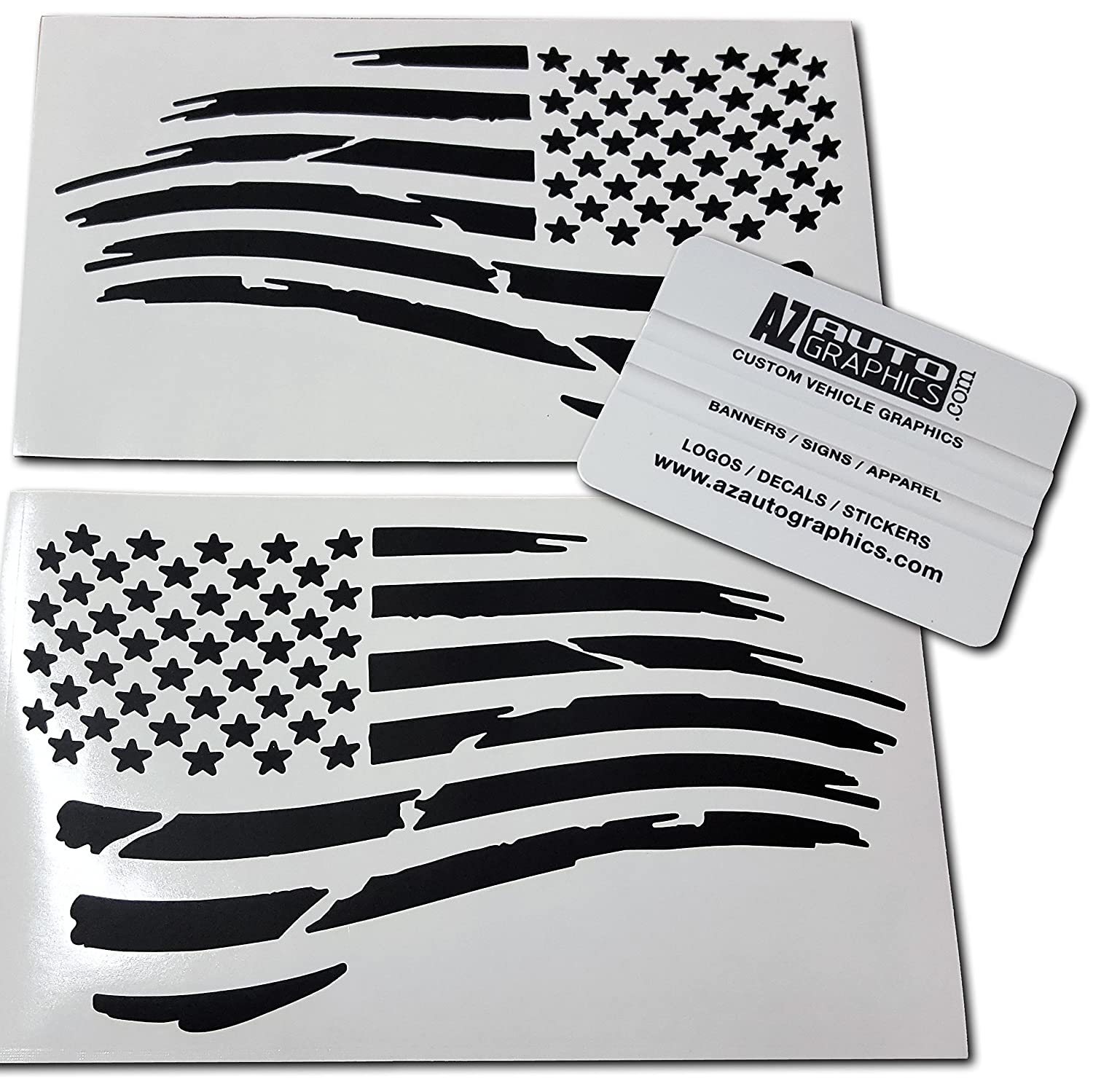 Az AutoGraphics Pair Distressed USA American Flag Decal Die-Cut Grunge Subdued Tattered Military (Black)