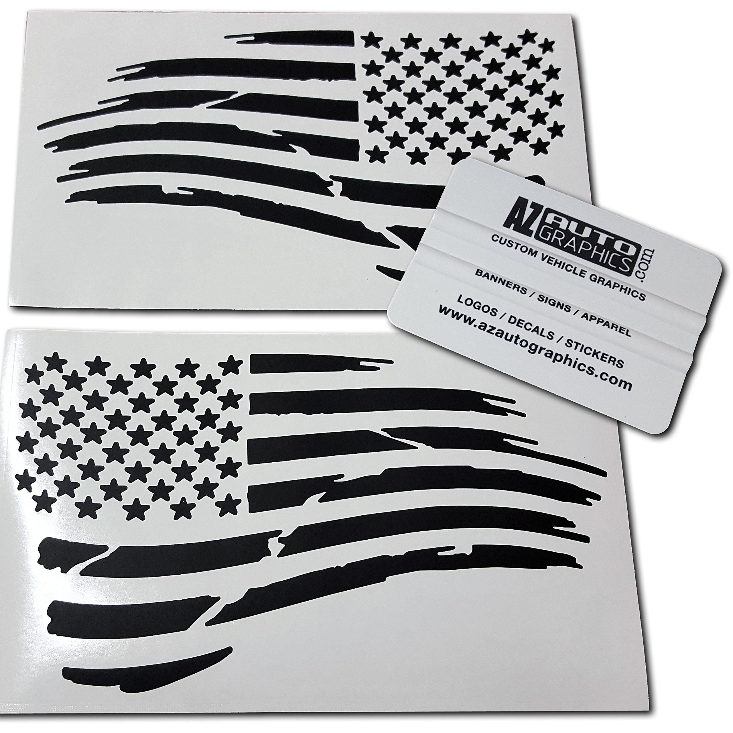 Set of 2 Middle Grey Distressed Tattered USA American Flag Decal Stickers