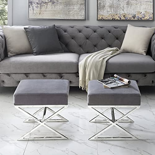 Inspired Home Aurora Grey Velvet Upholstered Ottoman – Stainless Steel Chrome X-Legs Bedroom 1 pc ONLY