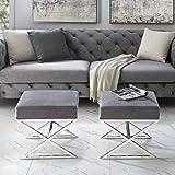 Inspired Home Aurora Grey Velvet Upholstered Ottoman - Stainless Steel | Chrome X-legs | Living Room, Entryway, Bedroom