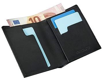 19ab5ba69842e Geldbeutel Männer mit RFID-Schutz Echtleder - Geldbörse Herren Schwarz  Portemonnaie Portmonaise Brieftasche Herrengeldbeutel Herrenbörse