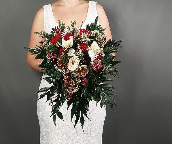 Winter Wedding Bouquets.Amazon Com Winter Wedding Bridal Bouquet Real Preserved