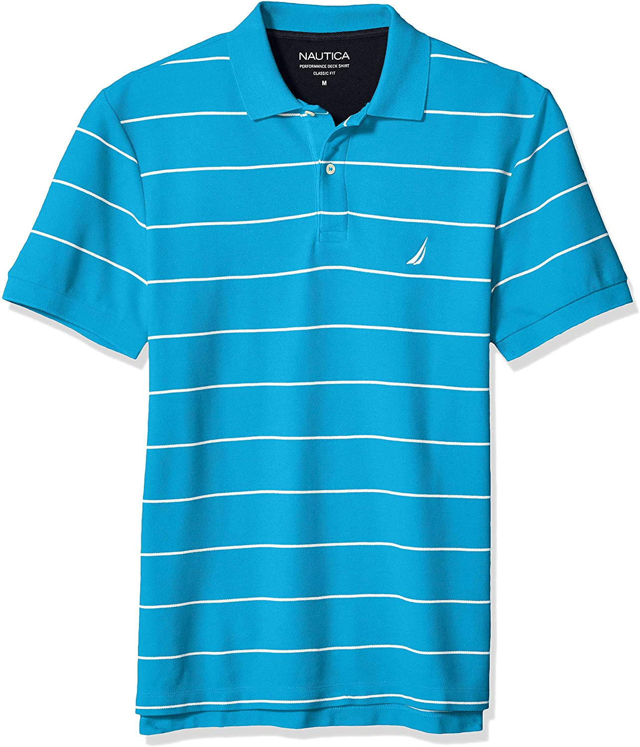 Nautica Mens Stripe Deck Anchor Polo