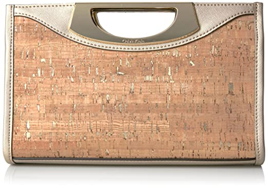 f784693586d Calvin Klein Shoshanna Clutch, Cork/Pale Gold: Handbags: Amazon.com