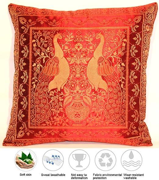 Funda de almohada de seda roja | Funda de almohada | Cojín ...