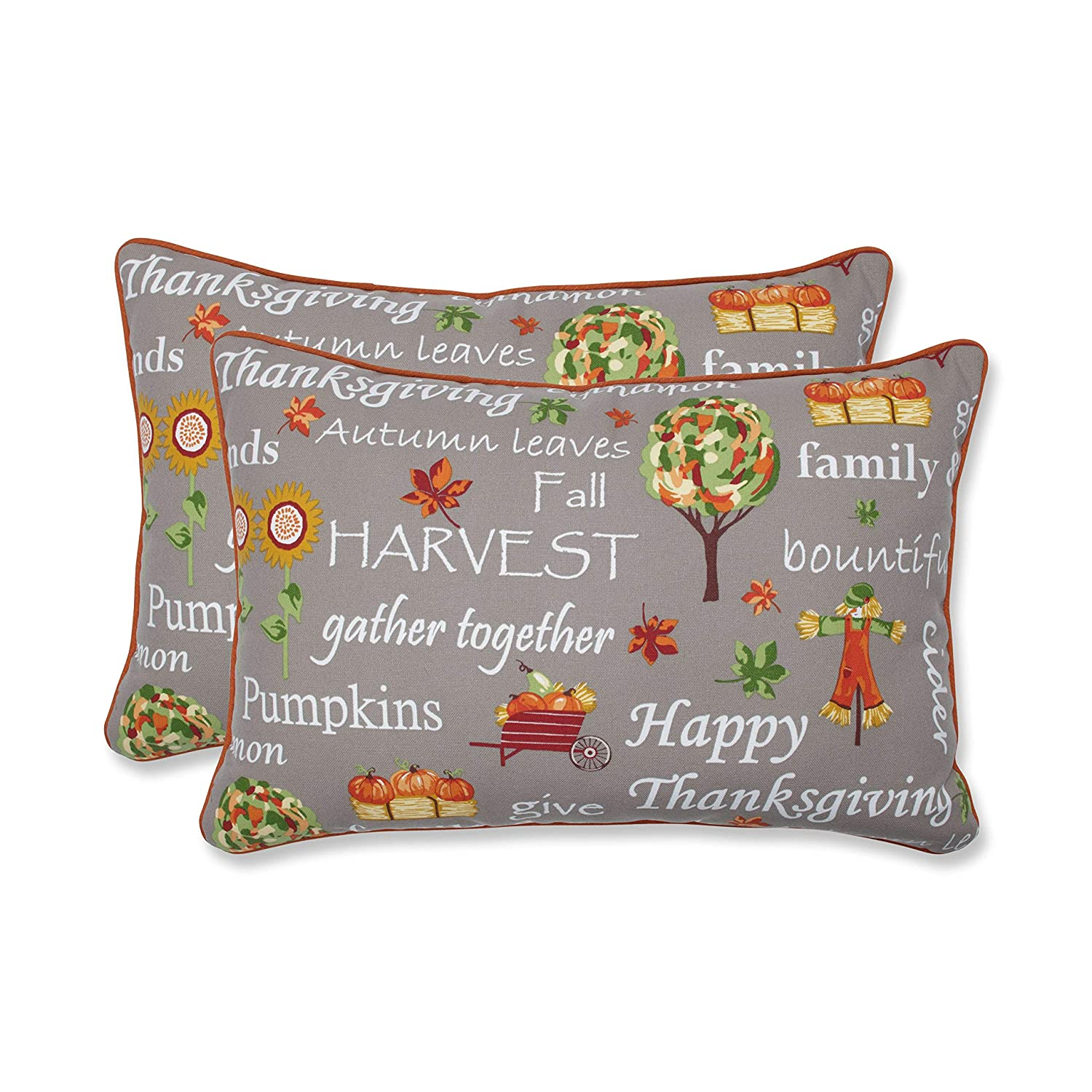 Pillow Perfect Autumn Harvest Haystack Indoor/Outdoor Oversized Lumbar Pillow, Set of 2 24.5' x 16.5' Multicolored
