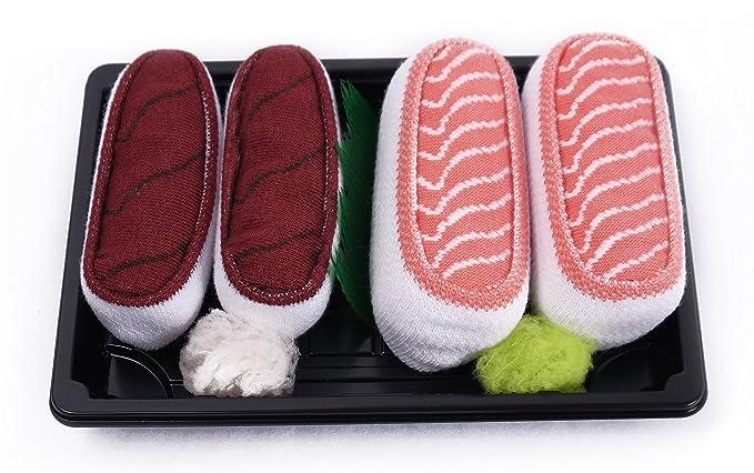 Sushi - Caja de calcetines 2 pares - Tamaño de atún, Salmón, Uk 7 - 11, EUR 41 - 46: Amazon.es: Ropa y accesorios