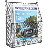 Gray Chicken Wire Design Metal Storage Basket w/ Chalkboard Label / Wall Mounted Magazine & Newspaper Organizer Rack