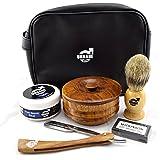 Urbane Men Traditional Shaving Complete Kit Gift Set - klassische Nassrasur - Komplett mit Schale, Rasiermesser, Pinsel & Seife, After Shave Balsam + Ersatzklingen & Ledertasche 0% Alkohol