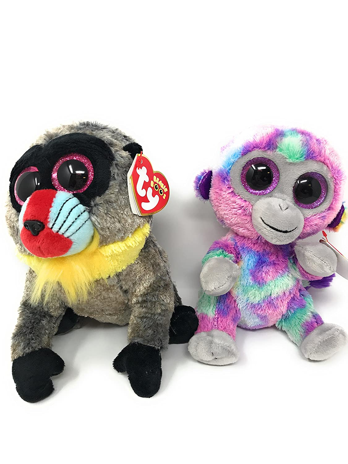 ffd4b2a2a6d Amazon.com  TY beanie boos set of 2 Wasabi the baboon and Zuri the monkey   Toys   Games