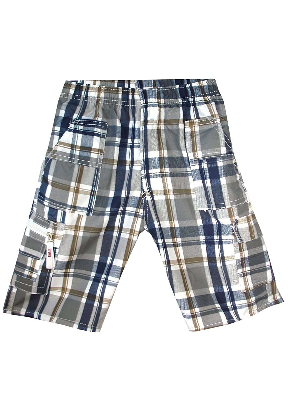 Boys Camouflage Checked Shorts Multipocket /¾ Length Combat Kids Age 3-14 Years