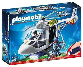 playmobil 6921 hlicoptre policier projecteur - Policier Playmobil