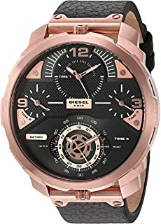 Diesel Mens DZ7380 Machinus Rose Gold Black Leather Watch