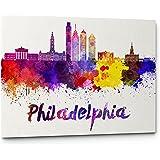 Watercolor City Splash Skyline Wall Art Canvas Print (Philadelphia)