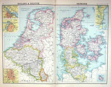 Carte Belgique Danemark.Carte C1900 Danemark Hollande Belgique Anvers Amsterdam