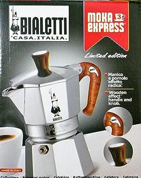 Bialetti Moka express - Cafetera (Aluminio, Madera, Estufa, Aluminio, De café molido, Café): Amazon.es: Hogar