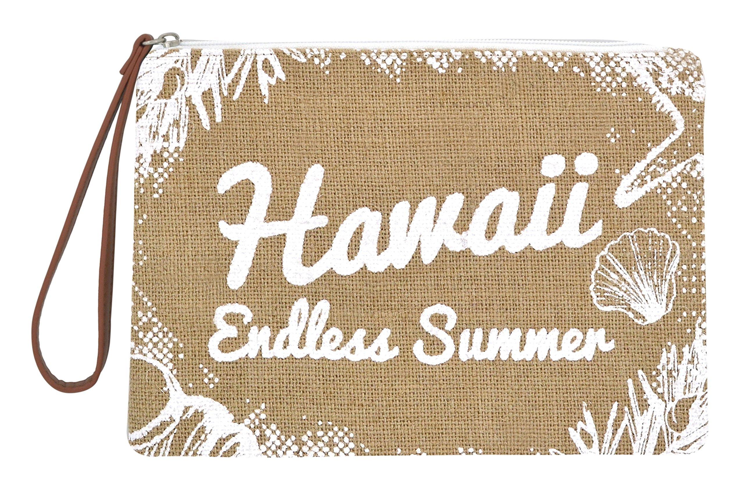 Seven Island Women Leather Canvas Cute Tropical Pineapple Print Unisex Portable Travel Evening Cosmetic Makeup Zipper Purse Wrist Pouch Clutch (Hawaii Endless Summer)