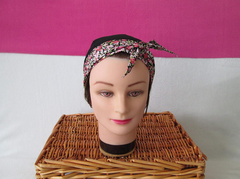 Foulard, turban chimio, bandeau pirate au féminin noir avec des fleurs roses
