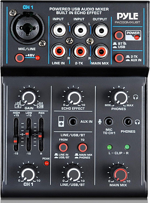 Professional Wireless DJ Audio Mixer - 3-Channel Bluetooth DJ Controller Sound Mixer w/USB Audio Interface, Combo Jack XLR+6.35mm Mic/Line/Guitar in, 3.5mm, RCA, AUX, Headphone Jack - Pyle PAD33MXUBT