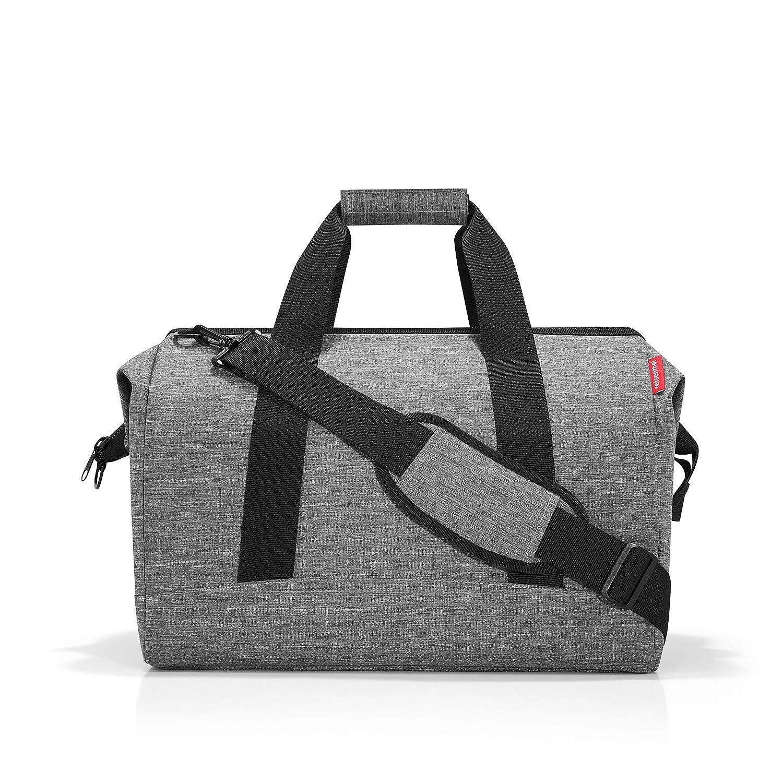 reisenthel Allrounder L Large Weekender Bag, Versatile 6-Pocket Padded Duffel, Twist Silver