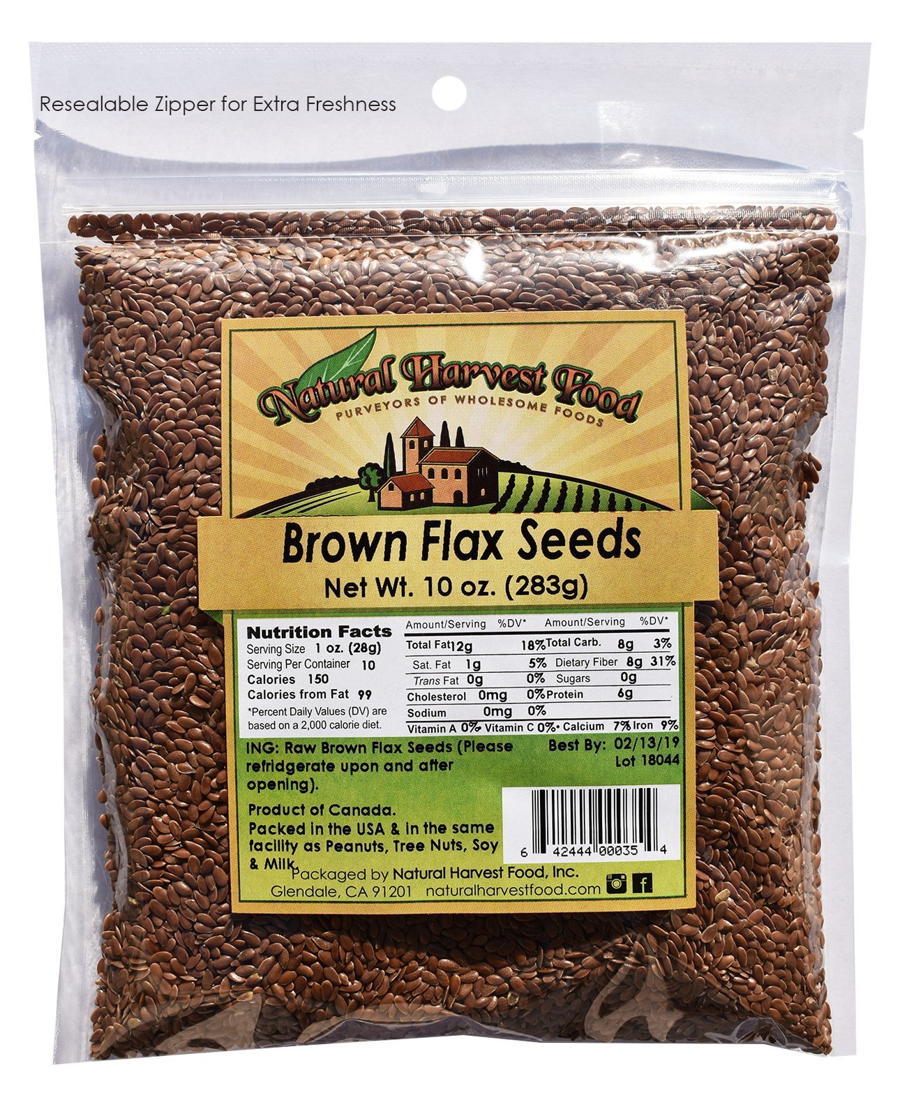 Brown Flax Seeds by Natural Harvest Food, 10 ounces (Pack of 6), Resealable Bag